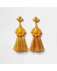 River Island - Mustard Yellow Jewel Tassel Drop Earrings - Lyst