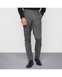 River Island - Grey Check Smart Slim Fit Trousers - Lyst