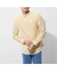 River Island - Yellow Button-down Casual Oxford Shirt - Lyst