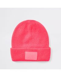 e1b4633612e River Island Light Pink Chunky Knit Beanie Hat in Pink - Lyst