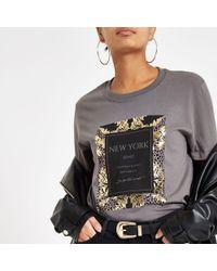 River Island - Grey Baroque Print Short Sleeve T-shirt - Lyst