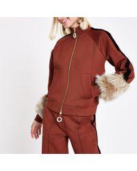 River Island - Ri Studio Rust Faux Fur Cuff Tracksuit Jacket - Lyst