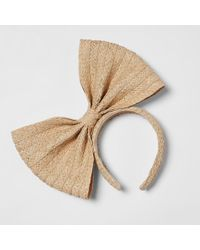 River Island - Light Brown Straw Bow Headband - Lyst