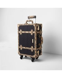 River Island - Black Ri Embossed Snake Trim Trunk Suitcase Black Ri Embossed Snake Trim Trunk Suitcase - Lyst