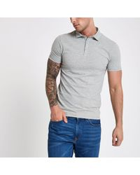 River Island - Essential Muscle Fit Polo Shirt - Lyst