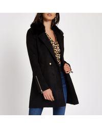 River Island - Faux Fur Collar Swing Coat - Lyst