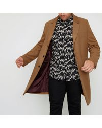 River Island - Big And Tall Camel Button-up Overcoat Big And Tall Camel Button-up Overcoat - Lyst