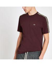 fa552f91a River Island - Burgundy Ri Monogram Tape Muscle Fit T-shirt - Lyst