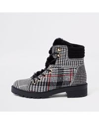 River Island - Check Faux Fur Tongue Lace-up Boots - Lyst