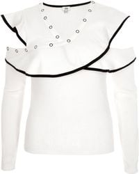 River Island - White Ribbed Crossover Fitted Top - Lyst