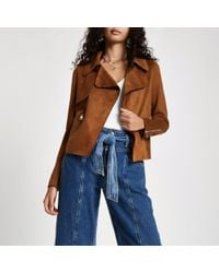 River Island - Brown Faux Suede Cropped Trench Jacket - Lyst