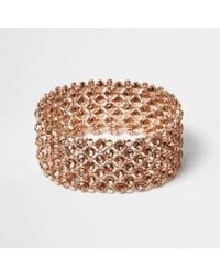River Island | Rose Gold Crystal Embellished Bracelet Rose Gold Crystal Embellished Bracelet | Lyst