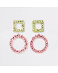 River Island - Pink Diamante Embellished Stud Drop Earrings - Lyst