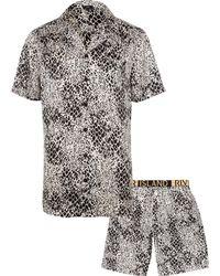 River Island - Snake Print Satin Pajama Set - Lyst