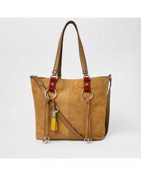 River Island - Beige Suede Hoop Detail Shopper Bag - Lyst