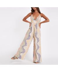 River Island - Beige Sequin Embellished Plunge Jumpsuit - Lyst