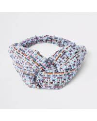 River Island - Light Blue Tweed Knot Hairband - Lyst