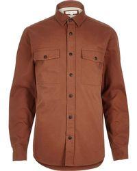 River Island - Orange Herringbone Utility Overshirt - Lyst