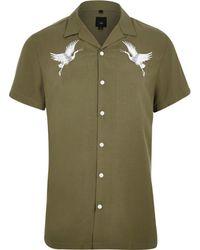 River Island - Khaki Crane Embroidered Revere Shirt Khaki Crane Embroidered Revere Shirt - Lyst