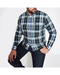 River Island - Lee Big And Tall Green Check Shirt - Lyst