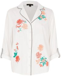 River Island | White Floral Embroidered Pyjama Shirt | Lyst
