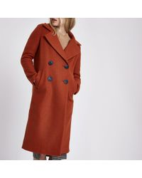River Island - Brown Long Double Breasted Coat - Lyst