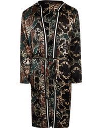 River Island - Baroque Print Sateen Dressing Gown - Lyst