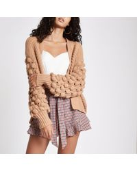 River Island - Brown Bobble Knit Cardigan - Lyst