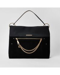 River Island - Zip Front Chain Front Slouch Bag - Lyst