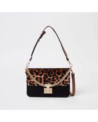 River Island - Beige Leopard Print Lock Front Underarm Bag - Lyst