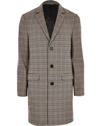 River Island - Big & Tall Brown Check Smart Overcoat - Lyst
