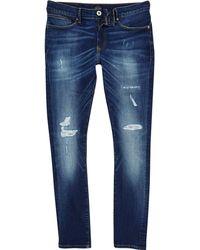 River Island - Big And Tall Dark Blue Jerry Rip Skinny Jeans - Lyst
