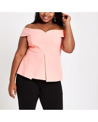 River Island - Plus Coral Structured Bardot Top - Lyst