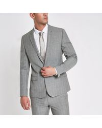 River Island - Check Skinny Fit Suit Jacket - Lyst
