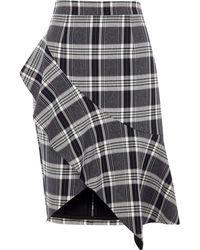 River Island | Navy Check Asymmetric Frill Pencil Skirt Navy Check Asymmetric Frill Pencil Skirt | Lyst