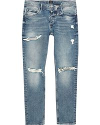 River Island - Light Blue Skinny Ripped Jeans - Lyst
