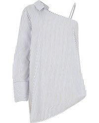 River Island - Blue Stripe One Shoulder Long Sleeve Shirt - Lyst