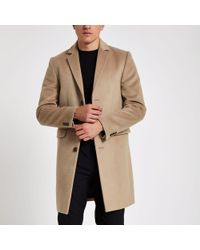River Island Camel Button-down Overcoat