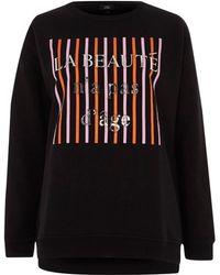 River Island | Black 'la Beaute' Embossed Sweatshirt Black 'la Beaute' Embossed Sweatshirt | Lyst