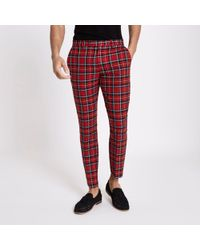 River Island - red Tartan Skinny Cropped Trousers - Lyst