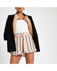 River Island - Stripe Belted Shorts - Lyst