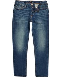 River Island - Dylan Slim Fit Distressed Jeans - Lyst