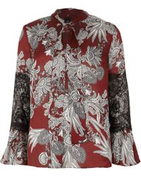 River Island - Floral Print Lace Insert Blouse - Lyst