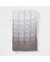 River Island - Grey Ombre Knit Scarf - Lyst