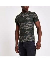 River Island - Green Camo Print Muscle Fit T-shirt - Lyst