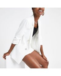 River Island - White Ruched Sleeve Blazer - Lyst