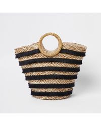 River Island | Black Tassel Stripe Woven Straw Basket Bag Black Tassel Stripe Woven Straw Basket Bag | Lyst