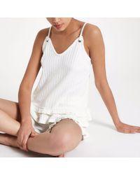 River Island - Cream Frill Hem Ribbed Cami Pyjama Top - Lyst