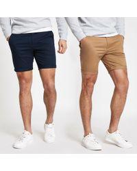 c457e6d599 River Island Navy Skinny Cargo Shorts in Blue for Men - Lyst