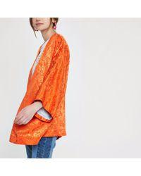 River Island - Orange Jacquard Kimono - Lyst